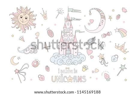 Unicorn vector sweet cute illustration. Magic fantasy design. Cartoon rainbow animal isolated horse. Fairytale unicorns print poster.