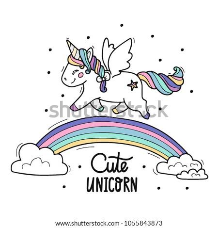 unicorn whit wings walks on the