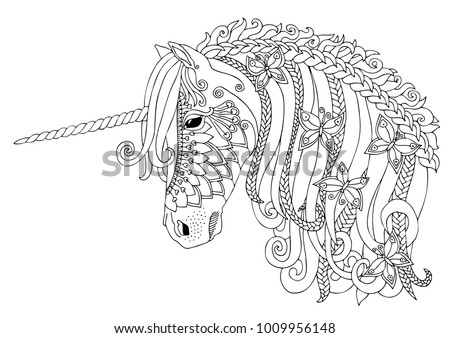 Unicorn with butterflies. Hand drawn fantasy horse. Sketch for anti-stress adult coloring book in zen-tangle style. Vector illustration  for coloring page.