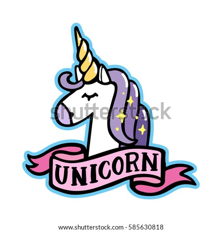 unicorn with pink ribbon on a