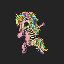 unicorn zombie dabbing illustration vector graphic