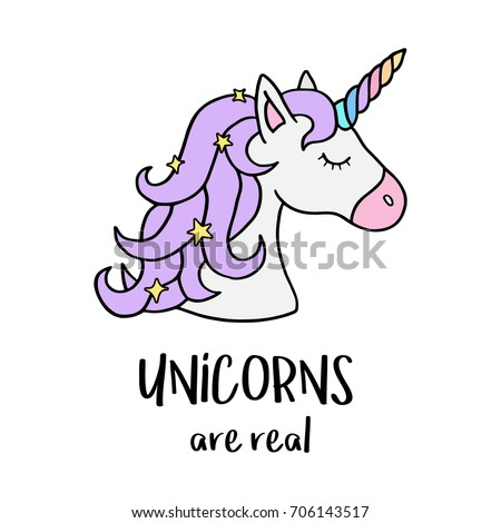 unicorns are real quote  vector