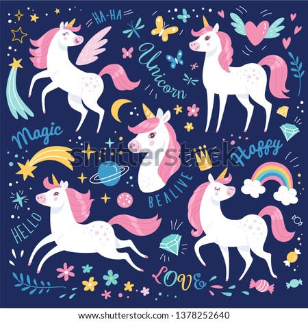 Unicorns collection. Vector illustration of cute cartoon white Unicorns with pink mane. Isolated on dark blue background.