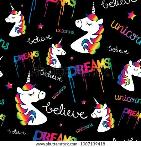 Unicorns dreams magical seamless repeat pattern texture / Textile graphic print design