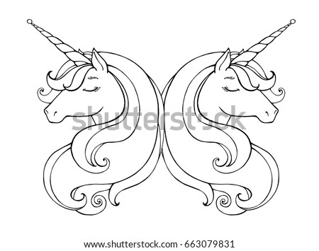 Unicorn Line Drawing Download Free Vector Art Stock Graphics Images