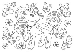 Unicorns vector. Coloring book page unicorn. Children background. Coloring page unicorn. Magic pony cartoon. Sketch animals. Animals coloring page. Animals vector