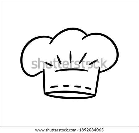 Uniform caps for kitchen staff in doodle style. Classic chef toque and baker hat. Vector hand drawn illustration on white background Stock photo ©