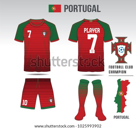 19e38fe73a6 Uniform football Design. Red and green layout Soccer jersey or football kit  template for sport