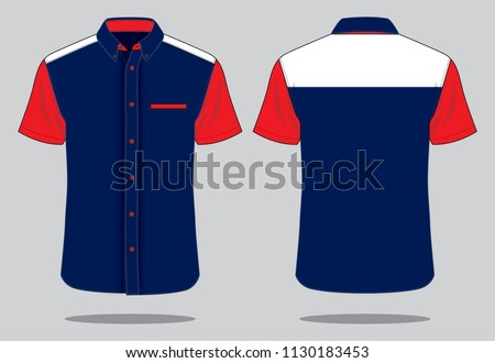 Uniform Shirt Design : Navy / Red / White