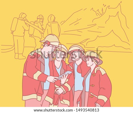 Uniformed firefighters gather to direct the operation. hand drawn style vector design illustrations.
