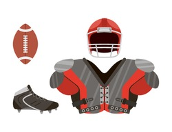 Uniforms for college football athlete. Flat icon isolate on a white background. Sportswear . Vector