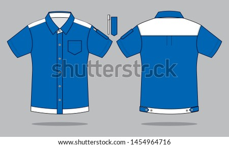 Uniforms Shirt Design Vector With  Blue/White And Pen Holder. : Front and Back View