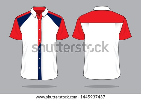 Uniforms Shirt Design Vector With White/Red/Navy Colors. : Front and Back View