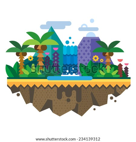 Uninhabited island, jungle. Tropical landscape with a waterfall and palm trees. Vector flat illustration