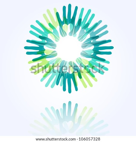 union and peace concept, a circle made from hands with hearts