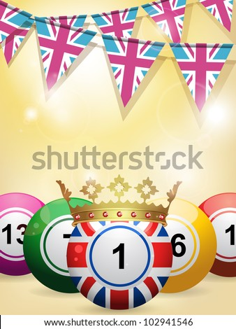 union jack bingo ball with crown on a glowing background with union jack bunting flags