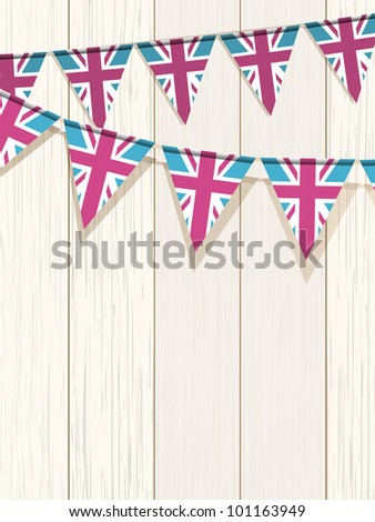 Union Jack bunting flags on a white wooden background - stock vector