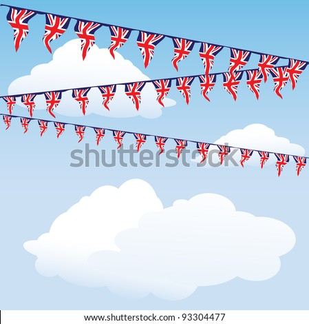 Union Jack bunting on cloud background with space for your text. Perfect for the Royal birth celebrations. EPS10 vector format