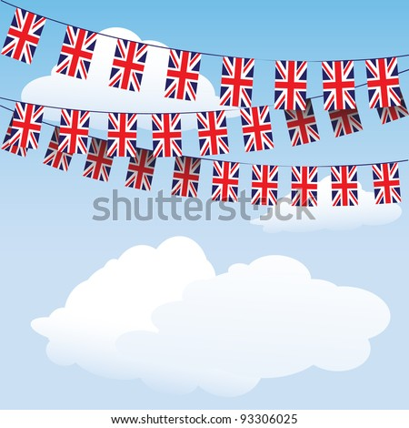 Union Jack bunting on cloud background with space for your text. Suitable for Royal Baby birth celebrations.  EPS10 vector format