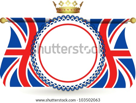 Union jack flags and crown above a red white and blue rosette - stock