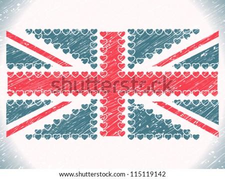 union jack hearts grunge flag, abstract vector art illustration