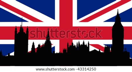 Union Jack with Houses of the Parliament silhouette on - isolated vector illustration