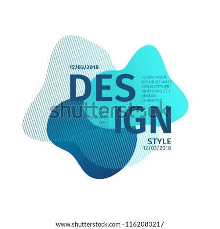 Unique abstract graphic elements. Banner with a gradient shape. Design template for presentation or flyer. Abstract forms with blue dynamic composition. Minimal mesh background. Modern style vector.