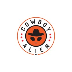 Unique and fun logo design with cowboy hat forming alien face or head vector icon illustration inspiration