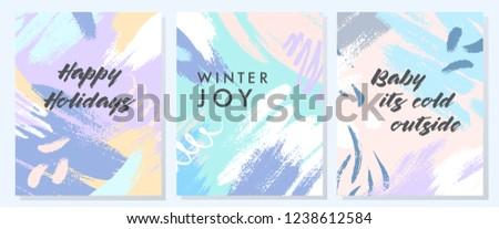 Unique artistic holidays cards with hand drawn shapes and textures in soft pastel colors.Trendy greetings design perfect for prints,flyers,banners,invitations,special offer and more.Vector collages.