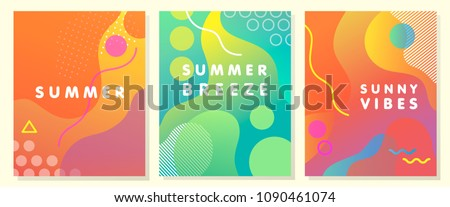 Unique artistic summer cards with bright gradient background,shapes and geometric elements in memphis style.Abstract design cards perfect for prints,flyers,banners,invitations,special offer and more.