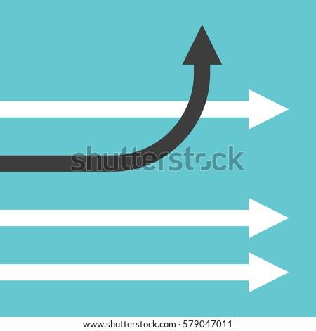 unique bending black arrow