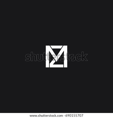 Unique creative modern trendy squared shaped minimal business brand black and white color M Z initial based letter icon logo. Stock fotó ©