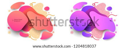 Unique decorative graphic elements. Abstract shapes dynamic concept background. Banner art with a gradient shape. Minimal modern style colored composition. EPS10 vector.