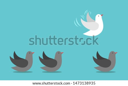 Unique different white bird flying away in sky from gray ones on ground. Courage, individuality, independence, will power concept. Flat design. EPS 8 vector illustration, no transparency, no gradients