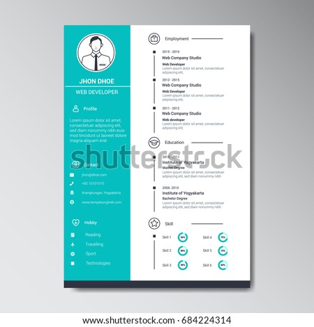 Free curriculum vitae vector design download free vector art unique flat color curriculum vitae design template with photo or avatar placeholder altavistaventures Images