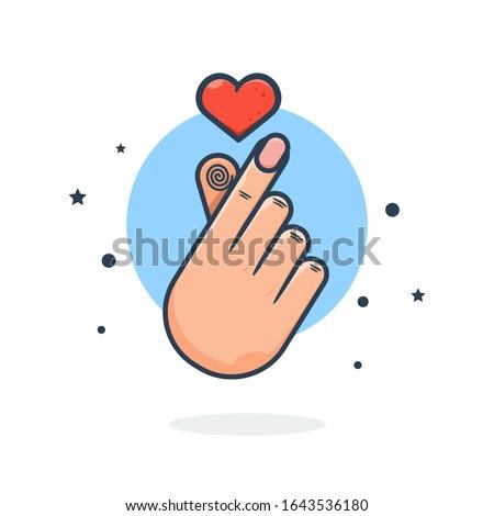 unique flying korean love hand