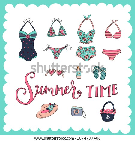 Unique hand drawn lettering: Summer time. Beach elements for greeting card, invitation, poster, T-shirt design.