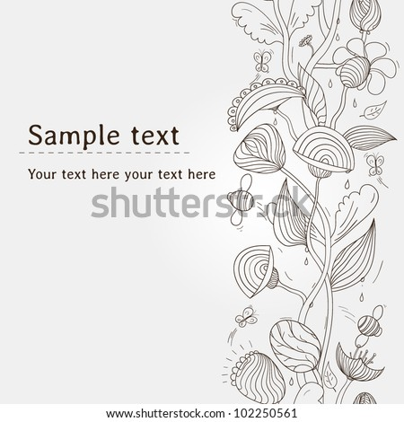 Unique hand drawn seamless floral pattern with butterflies and bees. Vector illustration with place for your text. Can be used for wallpaper, pattern fills, web page background, surface textures.