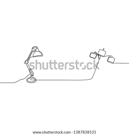 unique lamp and triple lamp one line lamps on a white background Vector