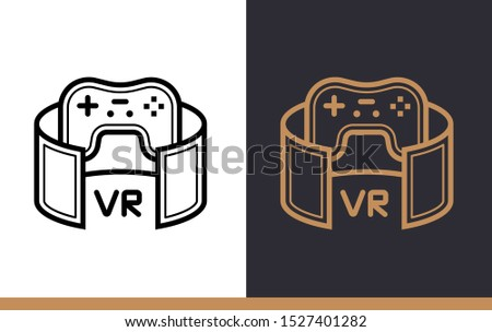 Unique linear icon of VR gaming. Virtual and augmented reality gadgets. Suitable for presentation, mobile apps, website, interfaces and print