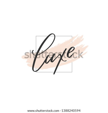 Unique Luxe lettering logo illustration. Calligraphy flat icon for your business. Cosmetic, spa, nail or hair care company identity. Advertising web startup design. Chic style. Vector isolated sign. Stockfoto ©