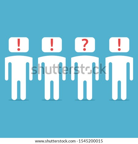 Unique man with question mark inside head, others with exclamation. Doubt, uniqueness, creativity, optimism and pessimism concept. Flat design. Vector illustration. No gradients, no transparency