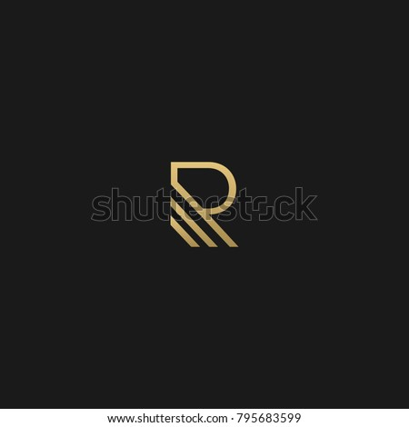 Unique Minimal Style golden and black color initial based logo
