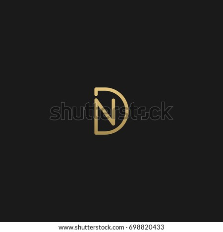 Unique modern creative clean connected fashion brands black and gold color DN ND D N initial based letter icon logo. Foto stock ©