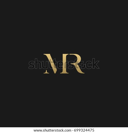 Unique modern creative elegant geometric fashion brands black and gold color MR RM M R initial based letter icon logo. Stock fotó ©