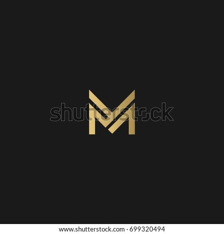 Unique modern creative elegant luxurious artistic black and gold color M initial based letter icon logo.