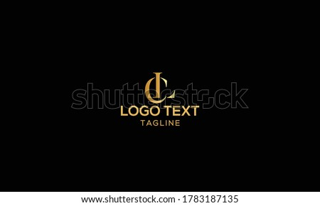 Unique modern creative elegant luxurious artistic gold and black color CL initial based letter icon logo Photo stock ©