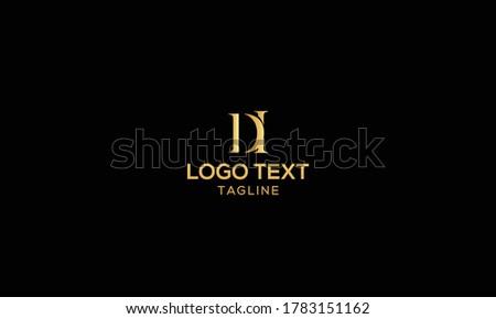 Unique modern creative elegant luxurious artistic gold and black color DI initial based letter icon logo Foto d'archivio ©