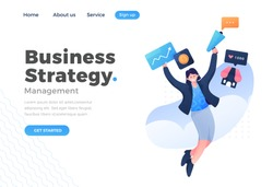 Unique Modern flat design concept of Business Strategy concept for website and mobile website. Landing page template. Easy to edit and customize. Vector illustration