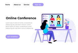 Unique Modern flat design concept of Online Conference for website and mobile website. Landing page template. Easy to edit and customize. Vector illustration